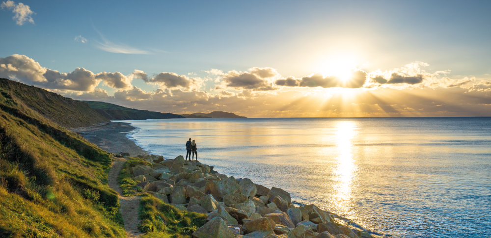 Glen Wyllin beach at sunset