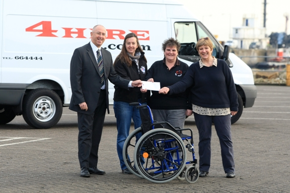 Left to right  Brian Convery, Sales Development Manager at the IOM Steam Packet Company, Ali Gell from Your Girl Friday, Cath Moore of 4 Hire, and Pam Kerruish, the driving force behind the Island's wheelchair collection project