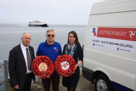 Royal British Legion's Dave Llewellyn (centre) pictured with Steam Packet Company Sales Development Manager Brian Convery and Marketing and Online Manager Renee Caley