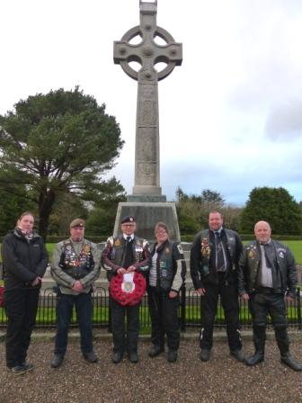 Members of the Royal British Legion Riders Branch at the War Memorial in St John's during their visit to the Isle of Man, supported by the Steam Packet Company