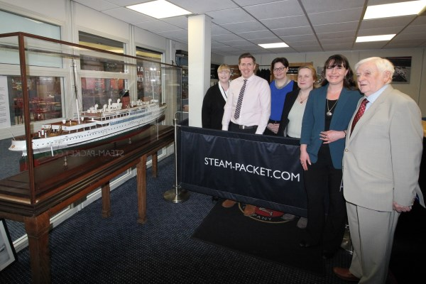 Representatives from Isle of Man Steam Packet Company and Port St Mary Commissioners with Mona's Queen Model