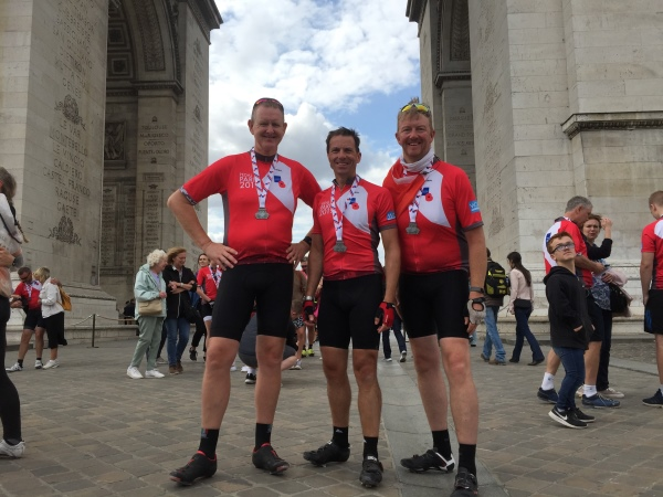 (L-R) Phil Shimmin, Bobby Syme and Nick Haxby raised more than £4,500 after completing the Royal British Legion's Pedal to Paris event.