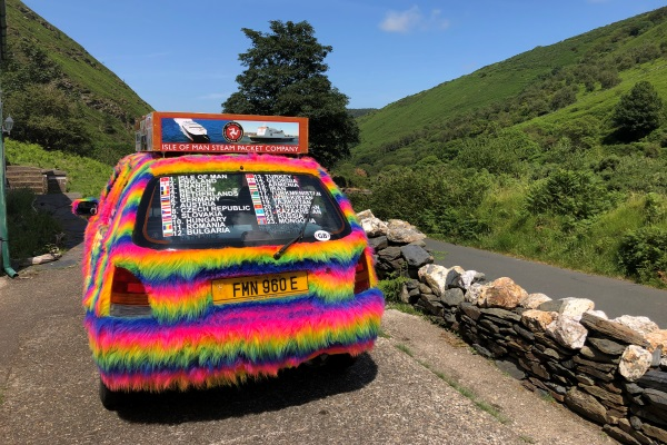 Team Mad Manx is embarking on a 10,000 mile road trip from the Isle of Man to Mongolia in a three-door, rainbow fur-covered hatchback