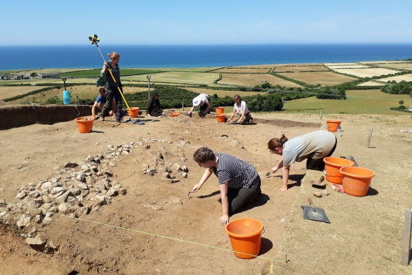 Some of the archaeologists digging at the prehistoric round mound, situated on the coast road between Kirk Michael and Peel, in 2018