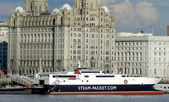 The vessel Manannan berthed in Liverpool
