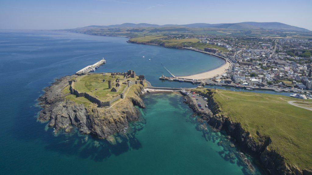 An aerial shot of the imposing Peel Castle on a sunny day.