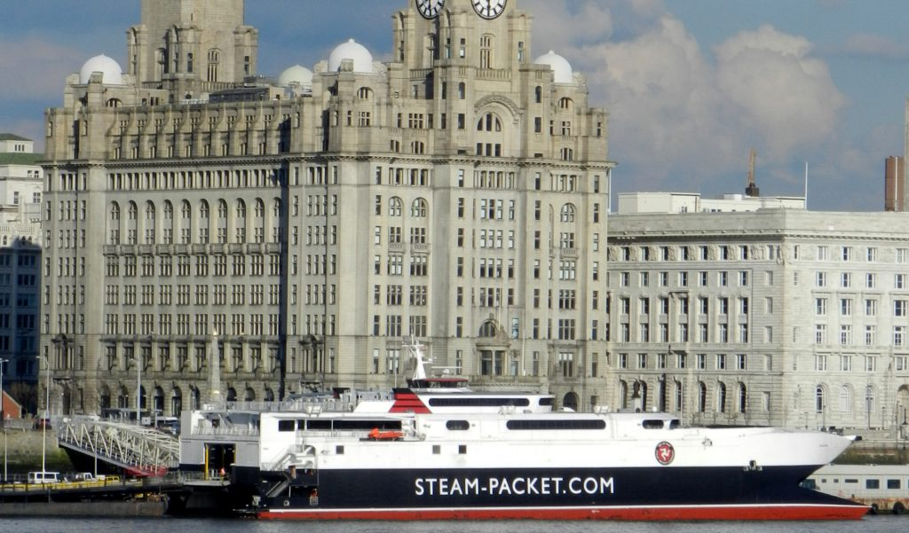 Fast craft Manannan in Liverpool Harbour