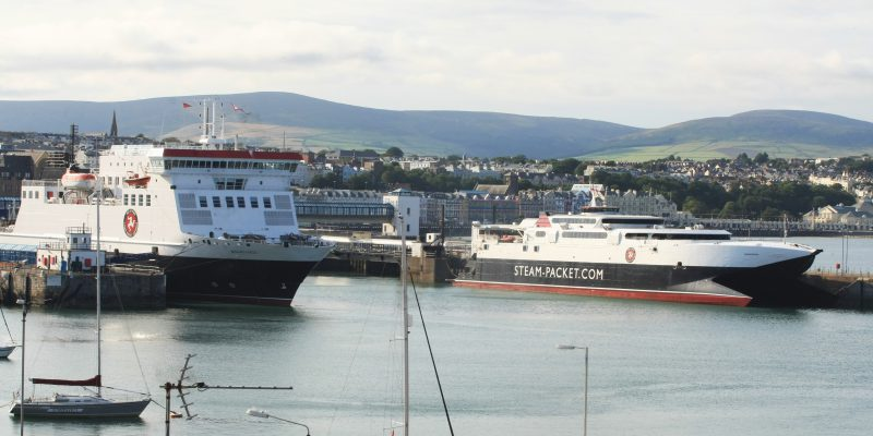 Two Steam Packet Company vessels, Ben-my-Chree and Manannan in Douglas Harbour