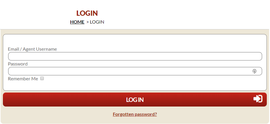Screenshot of page showing login for Steam Packet Company online account