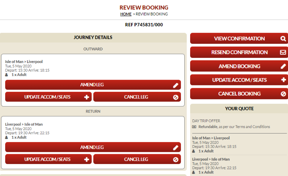 Screenshot of page showing the cancel booking option on the Steam Packet Company online account