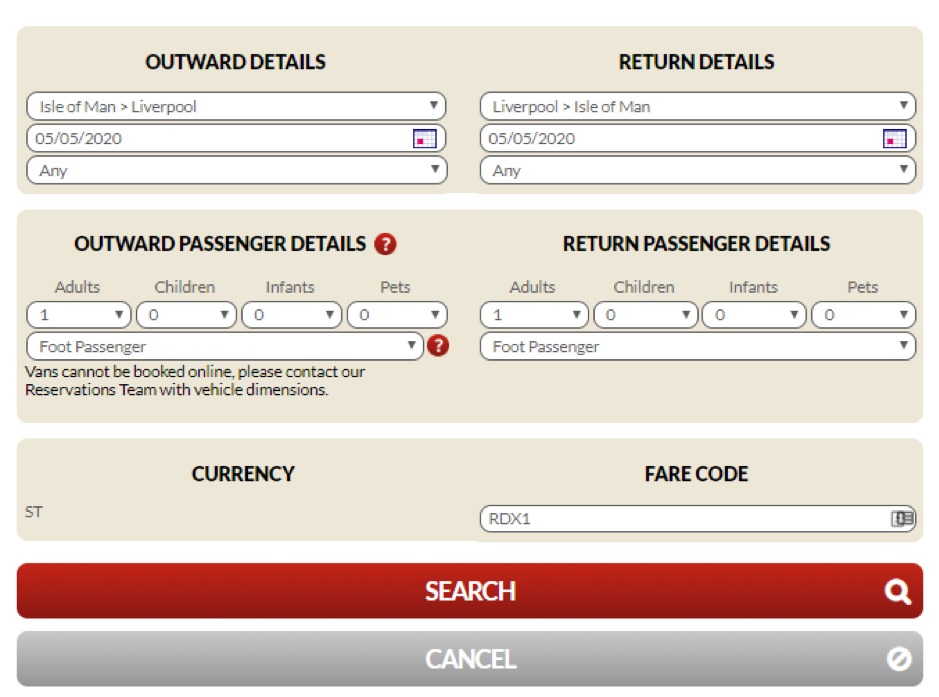 Screenshot of page showing how to search new dates when amending a sailing on the Steam Packet Company online account