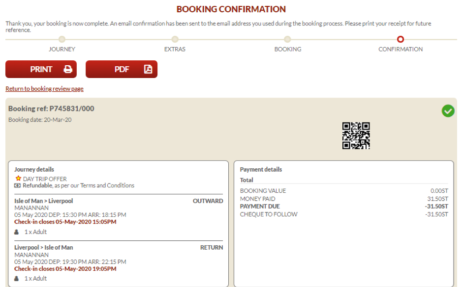 Screenshot of the booking cancellation confirmation page on the Steam Packet Company online account