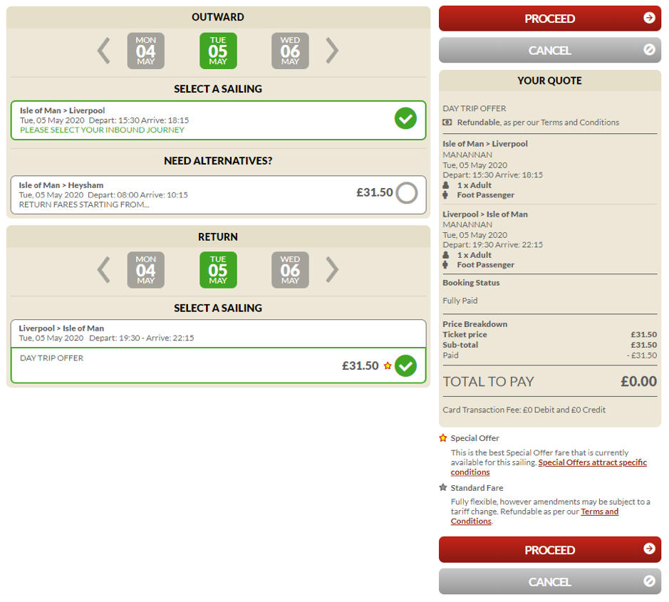 Screenshot of page showing how to choose an alternative sailing when amending a sailing on the Steam Packet Company online account