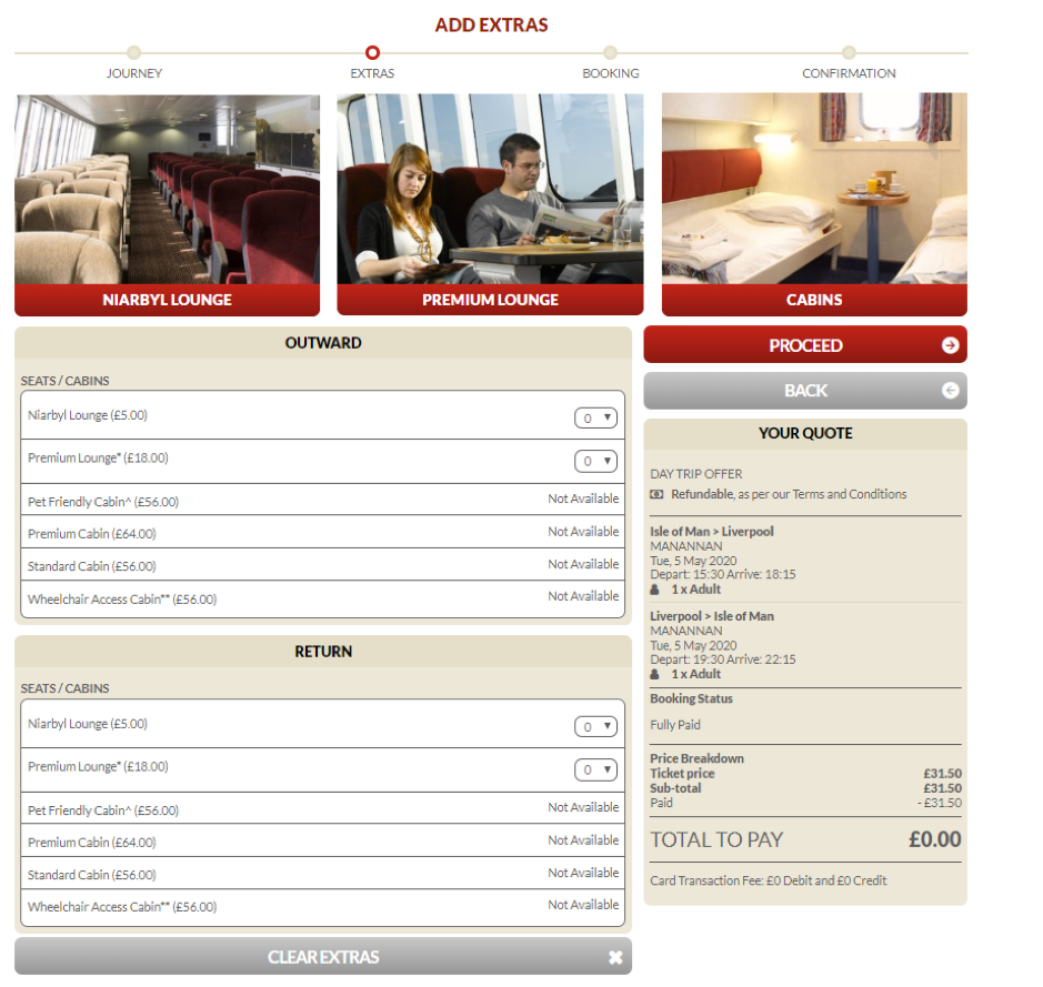 Screenshot of page showing how to add extras when amending a sailing on the Steam Packet Company online account