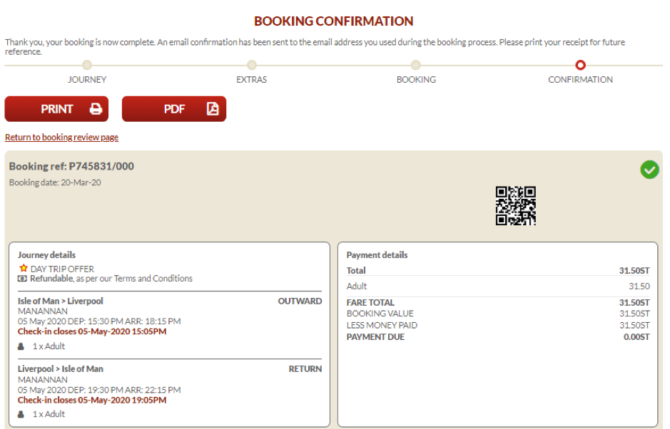 Screenshot showing booking confirmation page on the Steam Packet Company online account