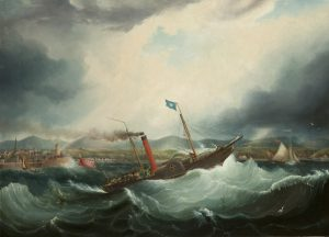 A painting of Isle of Man Steam Packet Company's first vessel, Mona's Isle, in very stormy waters