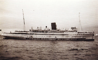 A black and white image of Steam Packet Company vessel Mona's Queen on the water.