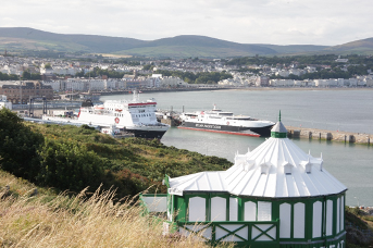 The view from Douglas Head with the Isle of Man Steam Packet Company fleet in Douglas Harbour