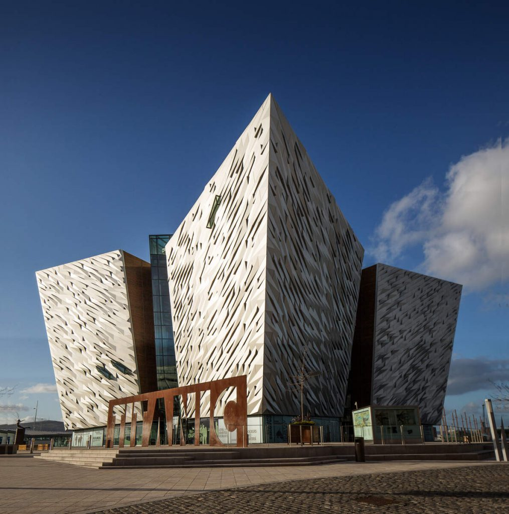 Titanic Belfast's striking architecture from the front view on a sunny day
