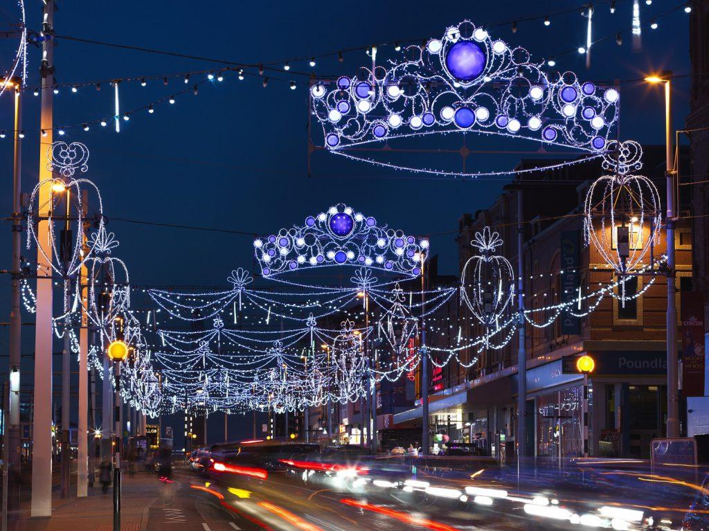 Blackpool Illuminations dazzling lights at night time